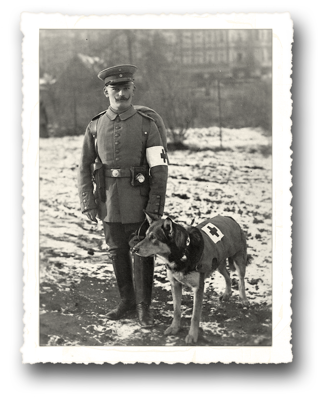 World War One Combat Medic with his dog